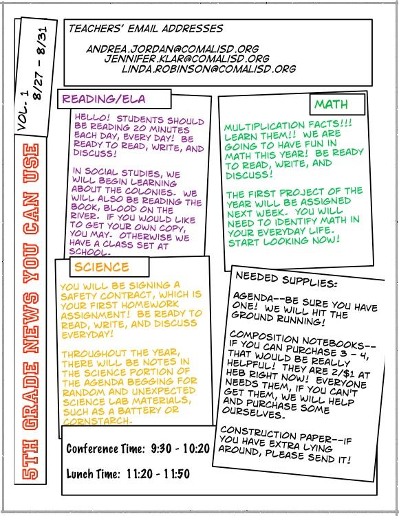 5th grade newsletter template - 5th grade newsletter classroom organization pinterest