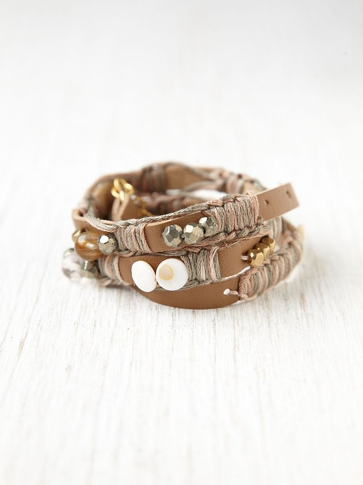 court leather and bead wrap bracelet