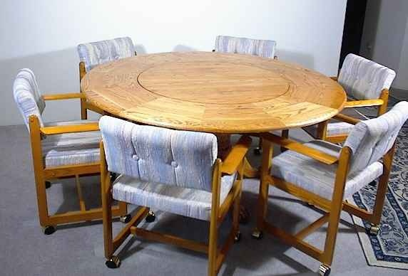 table with built in lazy susan kitchen and dining room