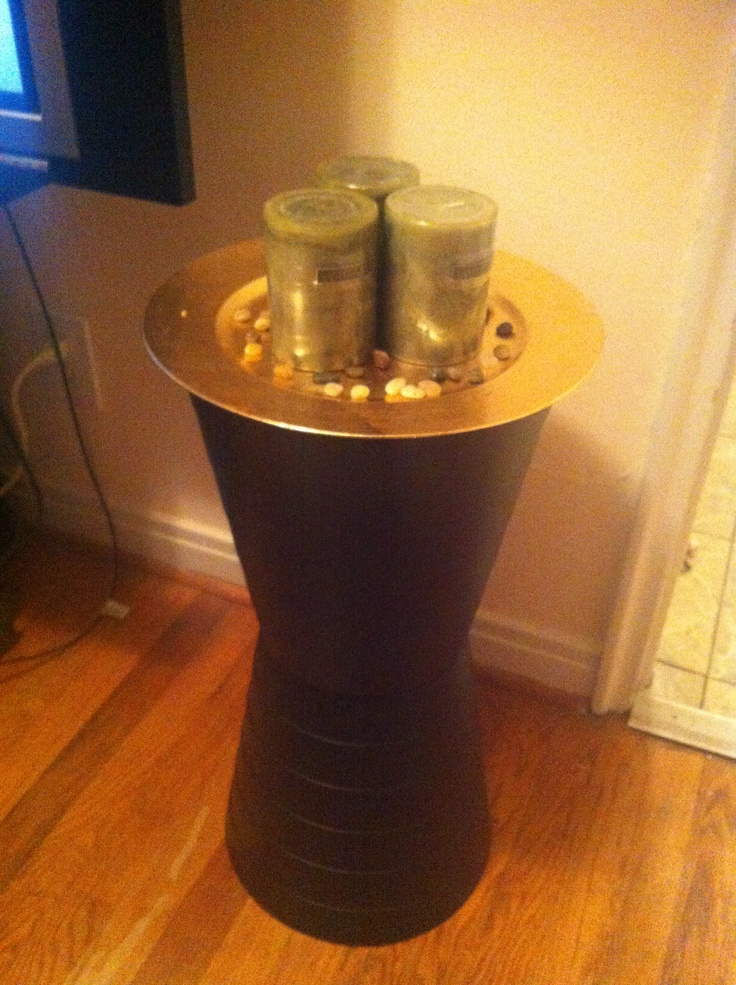 Homemade candle holder two trash cans charger candles for Homemade candle holders