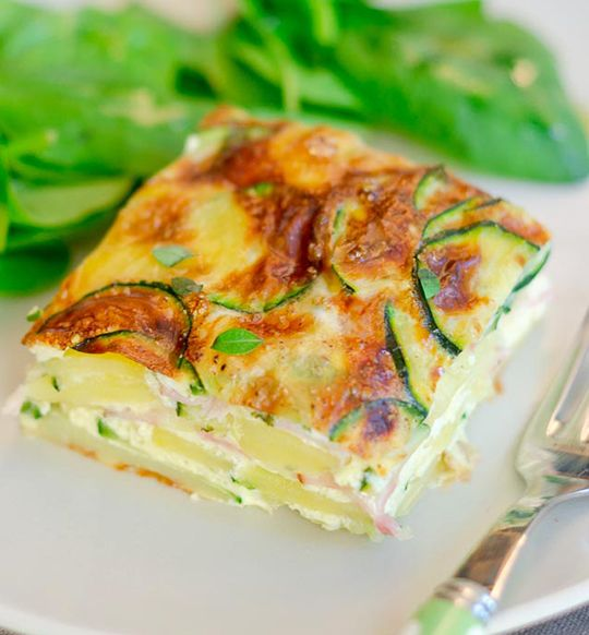 frittata with zucchini and goat cheese recipe....ew the goat cheese is ...