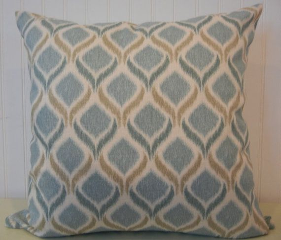 Ikat Contemporary Decorative Pillow Cover --20 x 20 Accent Pillow--Aq ...