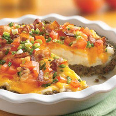 Ground Beef and Twice Baked Potatoe Pie | Casseroles | Pinterest