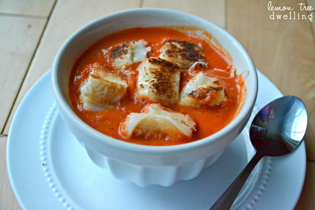 Fire-Roasted Tomato-Red Pepper Soup with Grilled Cheese Crouton