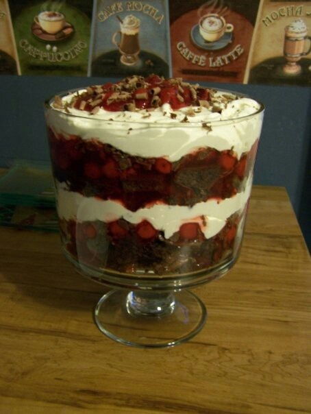 Black Forest Trifle with choc brownie not cake