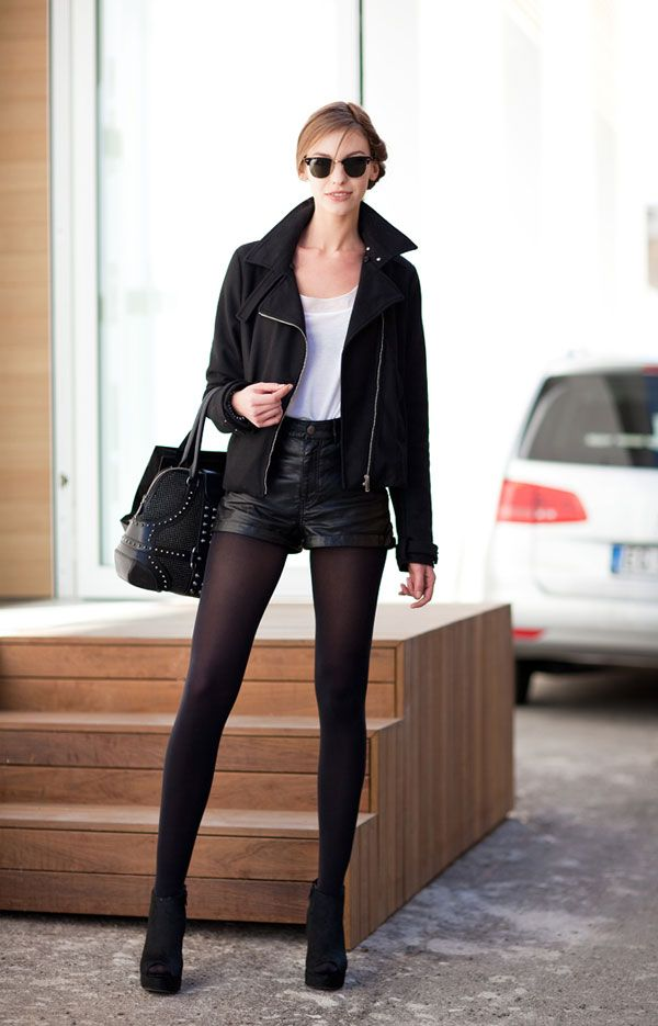 Street-Style Shorts and Tights
