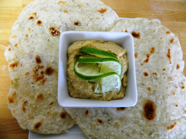 Chapatti with Hummus - flatbread (also known as roti) from the Indian ...