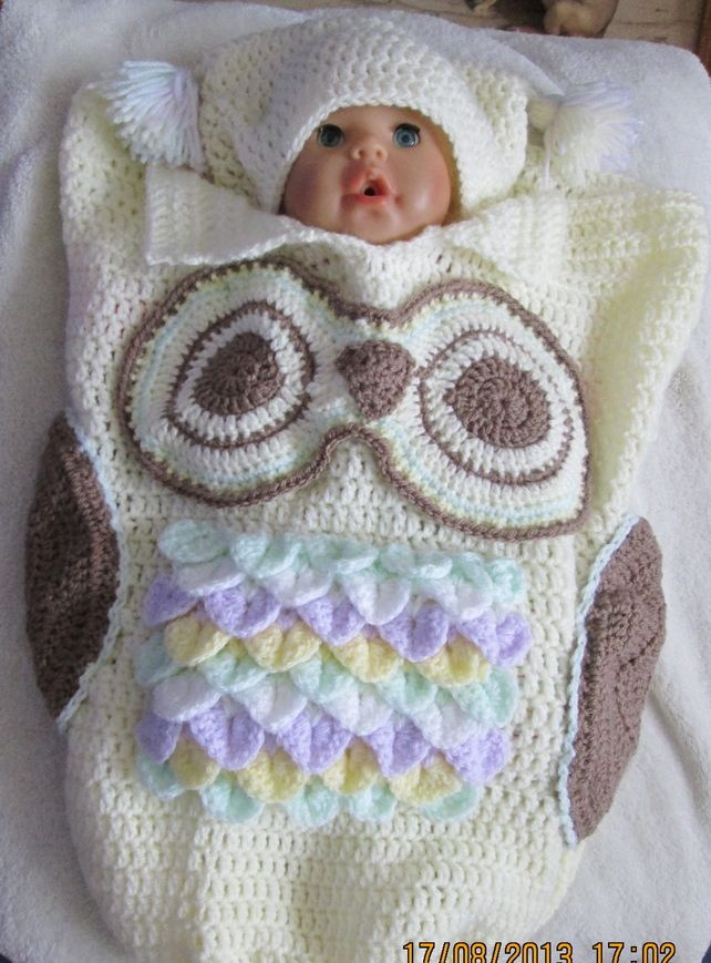 Hand Crochet Owl Cocoon and Hat for Baby