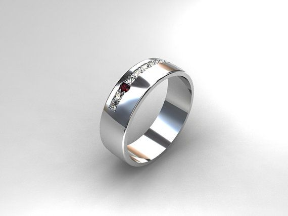 Ruby Ring White Gold Men 39 S Wedding Band Commitment Ring Men Diamo