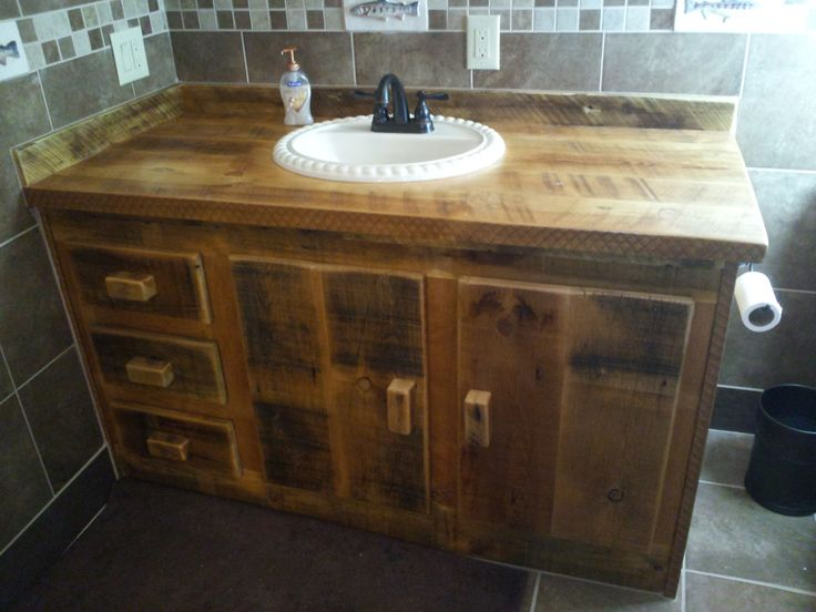 Creative YOUR Custom Rustic Tan Barn Wood Vanity Or Cabinet With A Built In