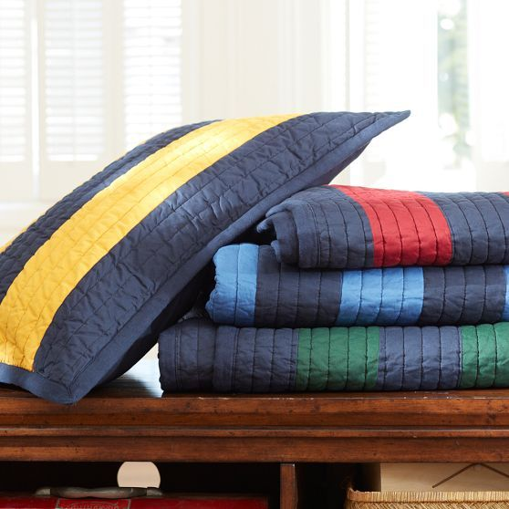 Rugby Stripe Quilt + Sham, Navy/Blue | PBteen