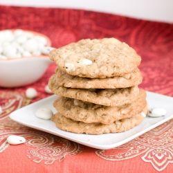 Oatmeal cookies with yogurt covered cranberries