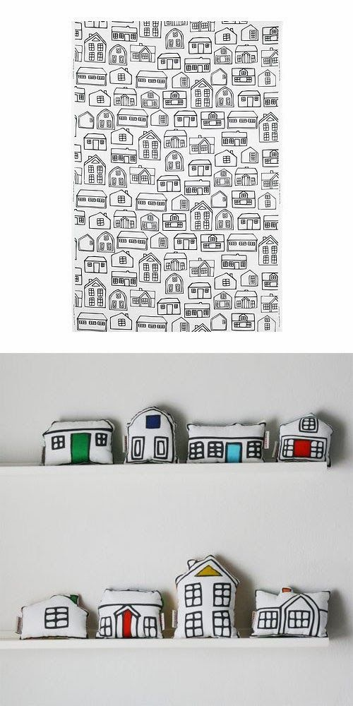 mommo design: IKEA HACKS - BRITTEN HUS fabric + fabric paint + sewing = soft toy town