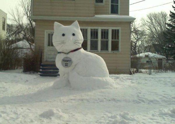 Cat Snow Sculpture