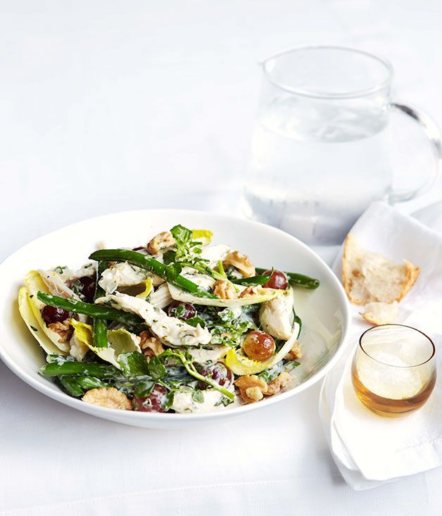 poached chicken + green bean salad with basil mayonnaise