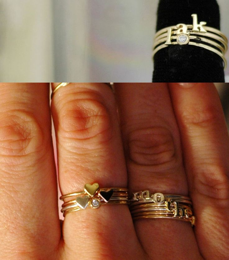 Totally in LOVE with these alphabet #rings from catbird. So dainty + cute! #jewelry