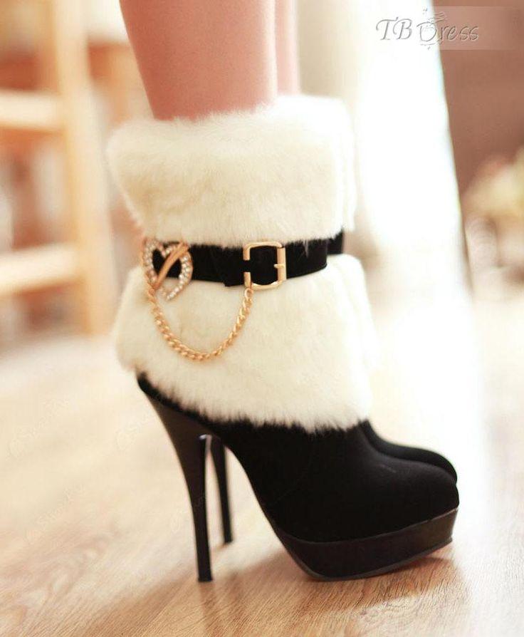 Heart Metal Fasteners Stiletto Heels Women s Boots : Tbdress.com