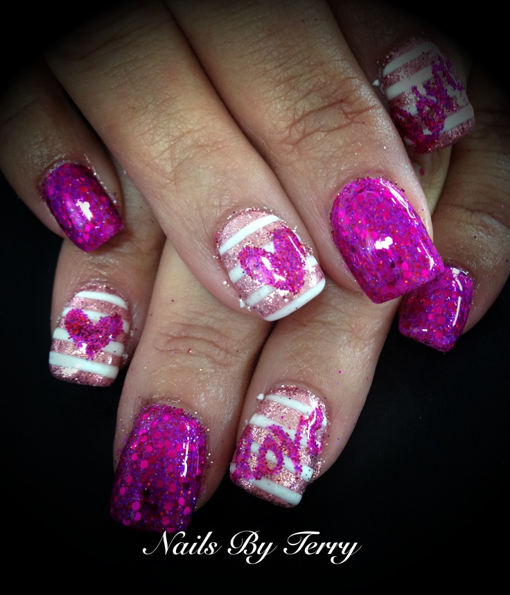 Love heart gel polish nails by Terry | Nails* | Pinterest