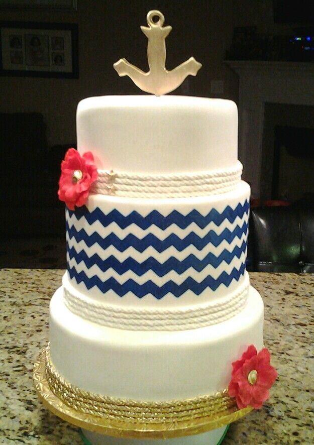 Cake Images Sonali : Chevron cake - chevron napkins - navy blue plates cakes ...