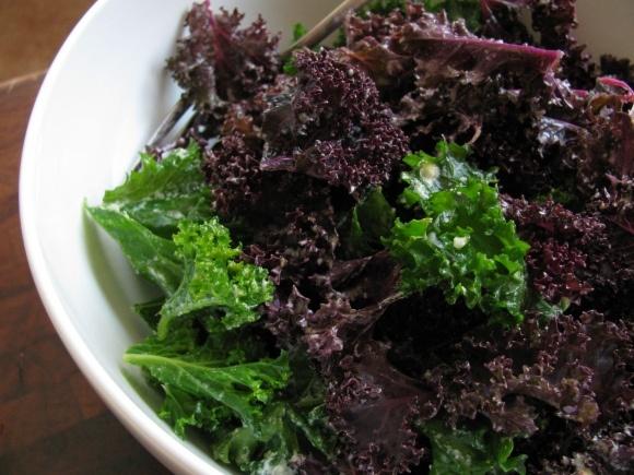 Kale salad with Tahini-lemon dressing. I also sprinkle freshly grated ...
