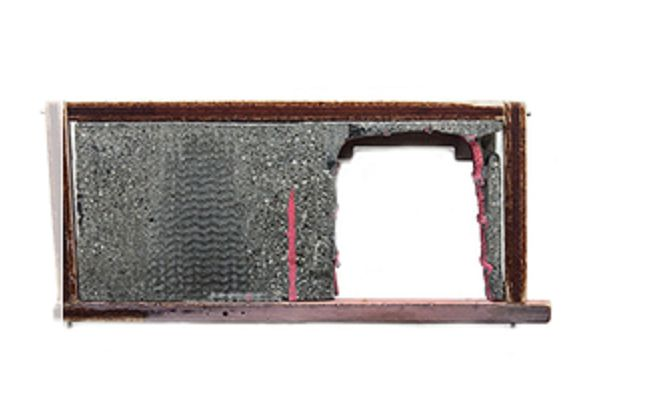 Demitra Thomloudis - Reconstructed square interior brooch - cement, plywood, sterling silver, nyckel silver, resin, pigment 2013