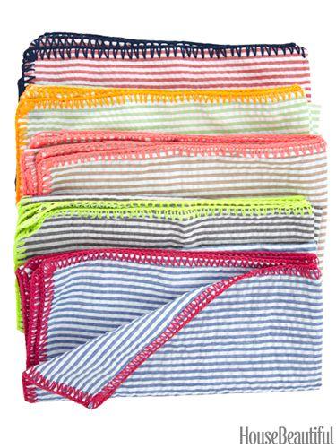 Seersucker napkins. By Kim Seybert. housebeautiful.com. #napkins #seersucker #nautical