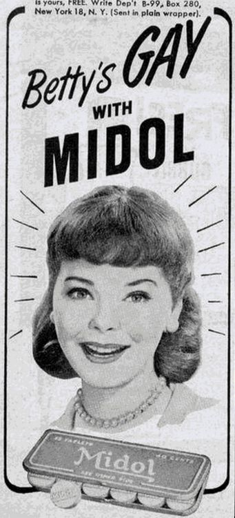 Betty's Gay with Midol - 1950s ad.