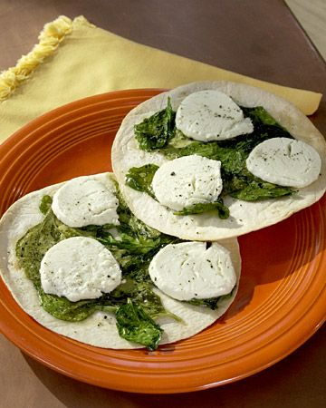 Spinach and Goat Cheese Open-Faced Quesadilla