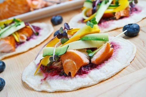 Salmon Bulgogi Tacos w/ Blueberry Habanero Salsa - I have NO idea what ...