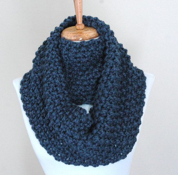 Knitting Pattern For Chunky Infinity Scarf : Infinity Scarf Cowl in Denim Blue Hand Knit Chunky Textured Pattern
