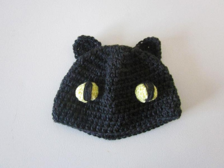 Free Crochet Pattern For Toothless The Dragon : Cat / Toothless the dragon beanie. Wearable Crochet ...