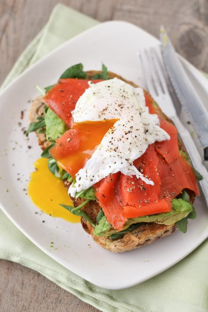 Smoked Salmon & Avocado Open-Faced Egg Arugula Sandwich ... if I had ...