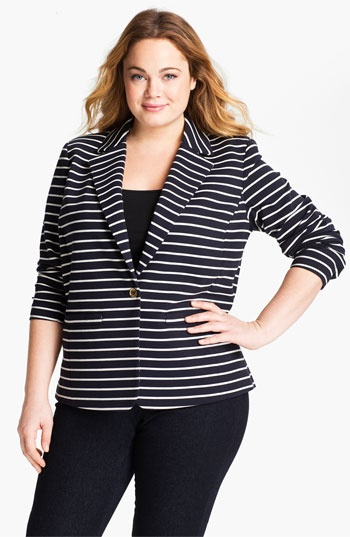 MICHAEL Michael Kors Stripe Blazer (Plus size) available at #Nordstrom