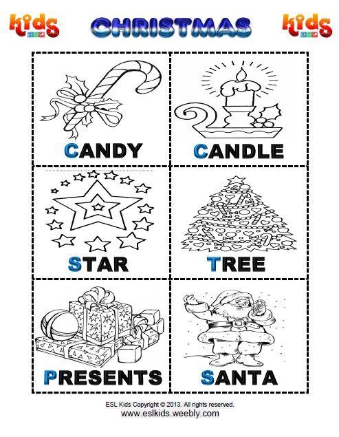 Christmas Worksheet | Flashcards for kids | Pinterest