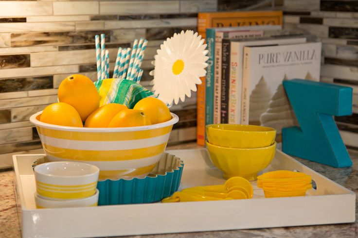 model home design kitchen yellow turquoise