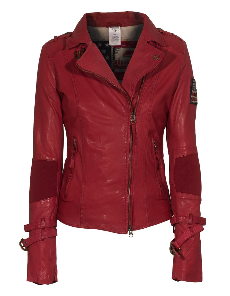 TRUE RELIGION Buckle Up Red Leather jacket with straps