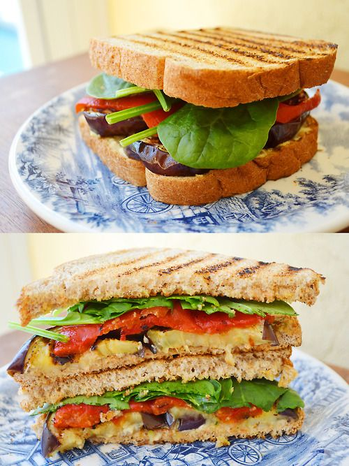 ... : Grilled eggplant, roasted red pepper, spinach and hummus sandwich
