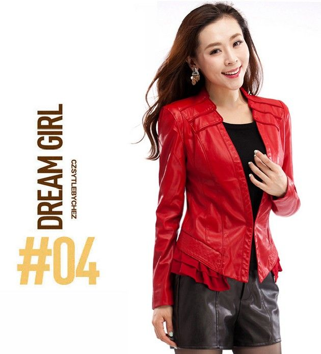 2014 spring autumn outerwear coats genuine leather clothing women slim