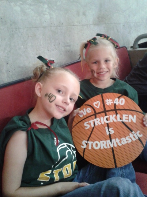 My nieces at the Storm game