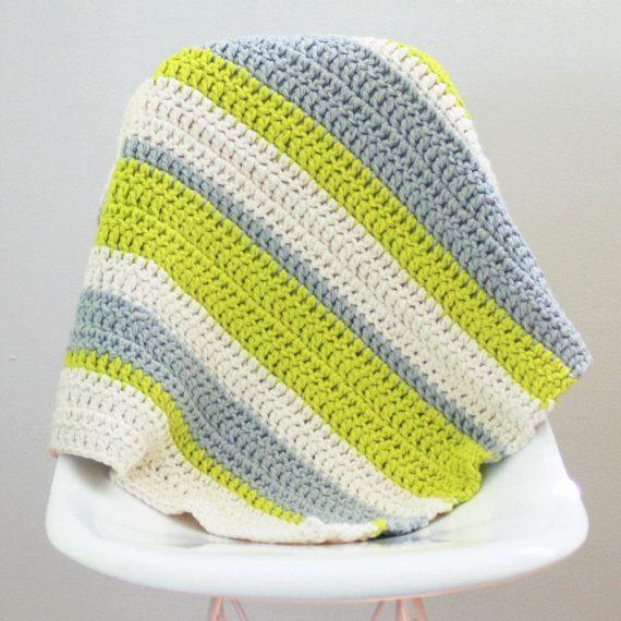 Modern Crochet Baby Blanket Organic Cotton Chartreuse ...