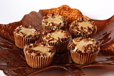 Brown Sugar Pecan Cupcakes with Caramel Frosting