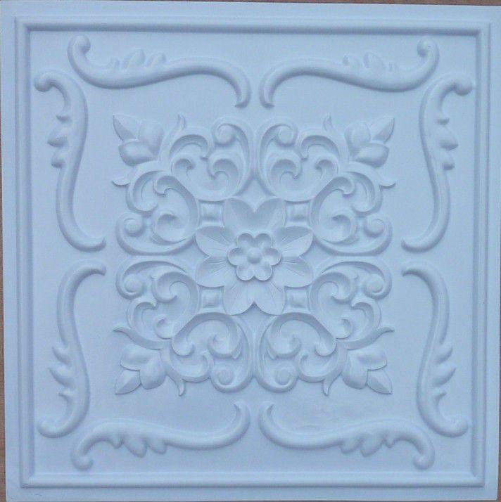 Faux Tin 3d Decorative Pvc Ceiling Tile White 26