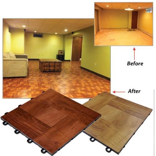 Basement flooring laminate wood before and after for Interlocking laminate flooring