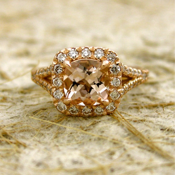 Antique Cushion Cut Natural Pink Morganite 14k Rose Gold Engagement Ring with Diamonds