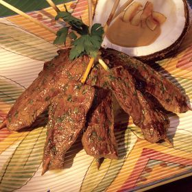 Top Sirloin Beef Satay with Peanut Dipping Sauce | Recipe