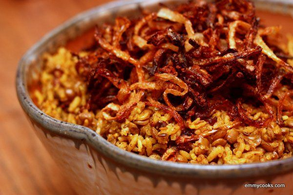 Lentils and Rice with Fried Onions