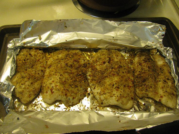 Lemon pepper and garlic baked tilapia, I don't care for fish but I ...