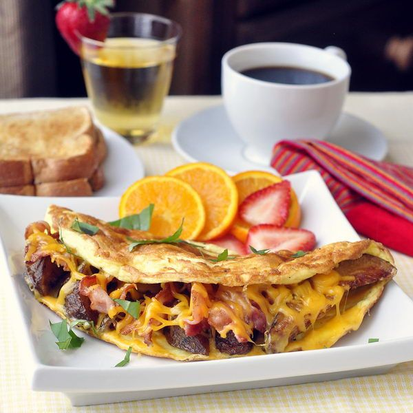 Unfried Crispy Wedge Fries in a Potato Bacon and Cheddar Omelette - I ...