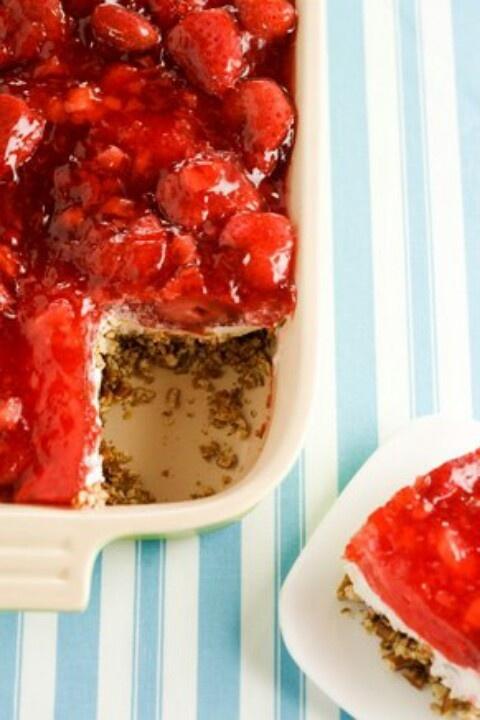 Strawberry Pretzel Salad via Paula Deen | Food and Drink | Pinterest