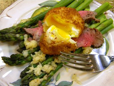 Roasted Parmesan Asparagus, Poached, battered & Fried Egg with ...
